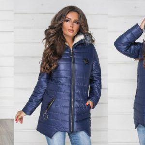 Синяя женская зимняя куртка