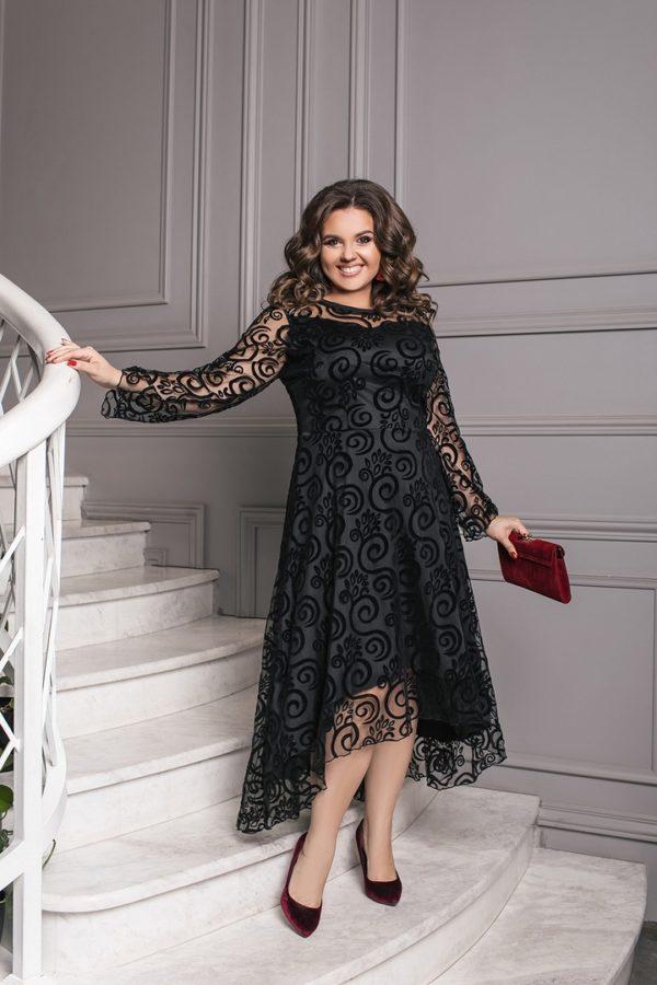 черное платье с прозрачными рукавами