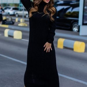 черное сексуальное платье вязаное