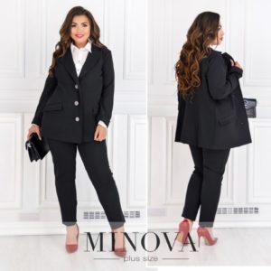 Черный брючный костюм с пиджаком для женщин