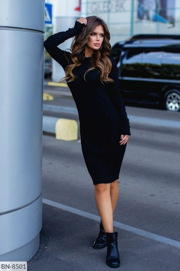 длинное вязанное платье черное