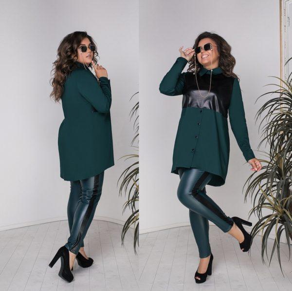 Кожаные брюки с туникой больших размеров