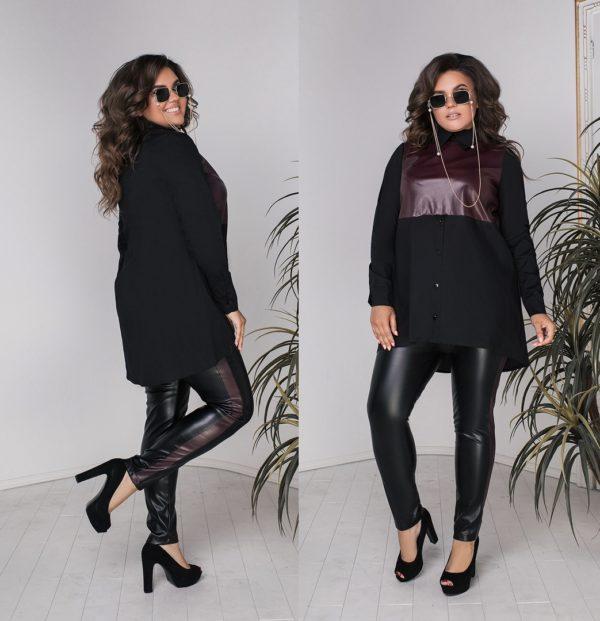 Кожаные брюки с туникой черной