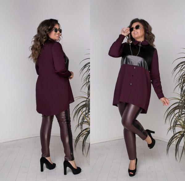 Кожаные брюки с туникой женские