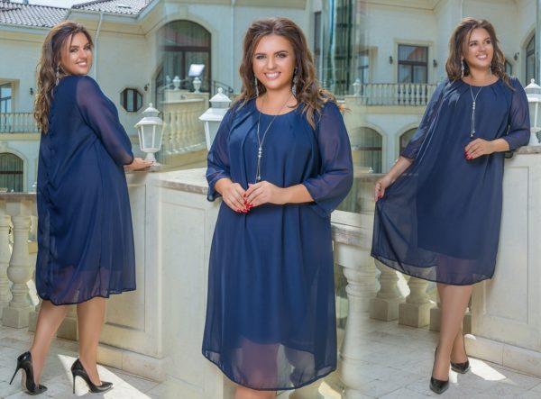 платье большого размера темно-синие