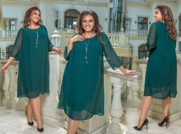 платье большого размера зеленое