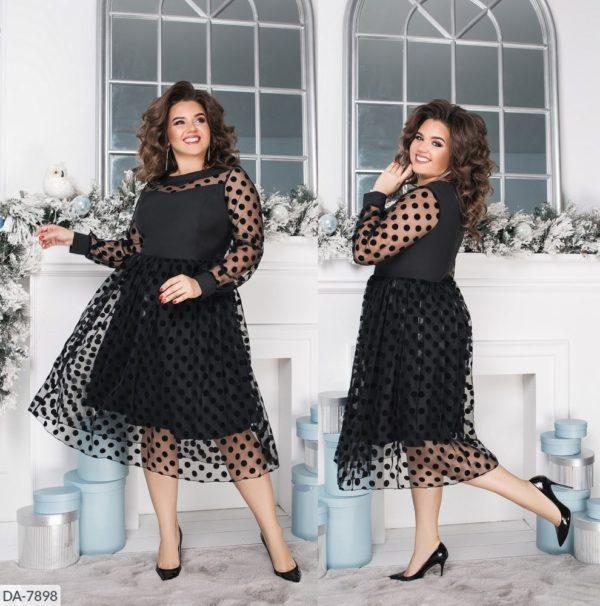 Платье черное в горох