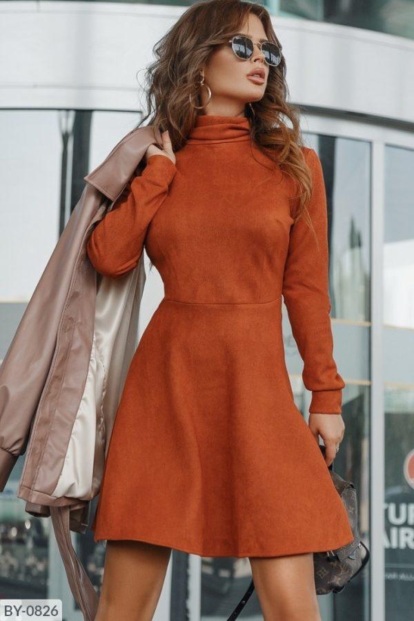 расклешенное платье кирпичного цвета