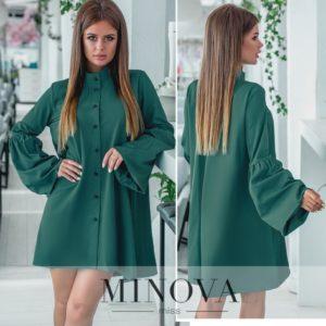 Рубаха-платье оверсайз зеленое
