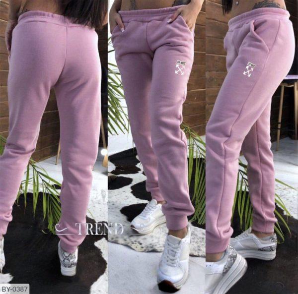 теплые розовые брюки женские