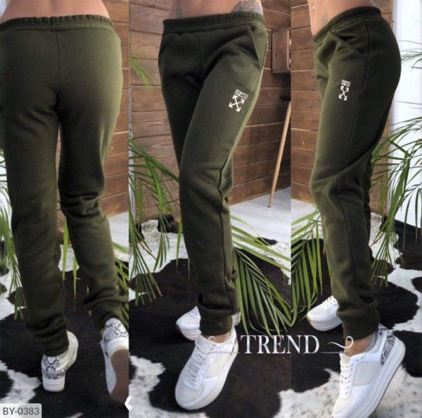 теплые зеленые брюки женские