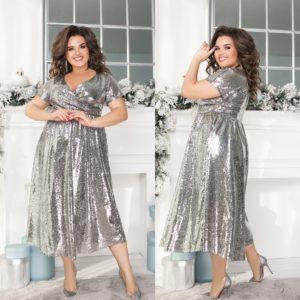 Вечернее серебристое красивое платье