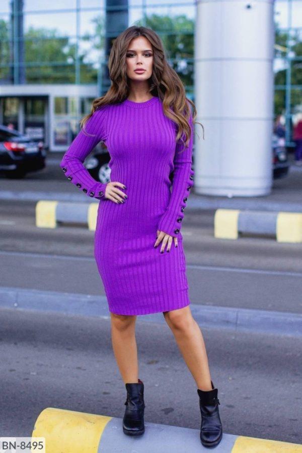 вязанное платье фиолетовое