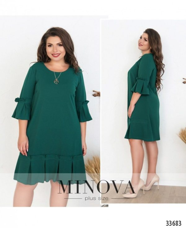 зеленое платье для полных миди