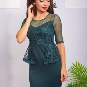 зеленое платье с баской
