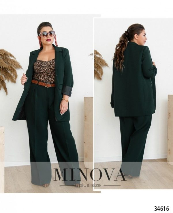 Зеленый костюм с брюками женский 62 размер