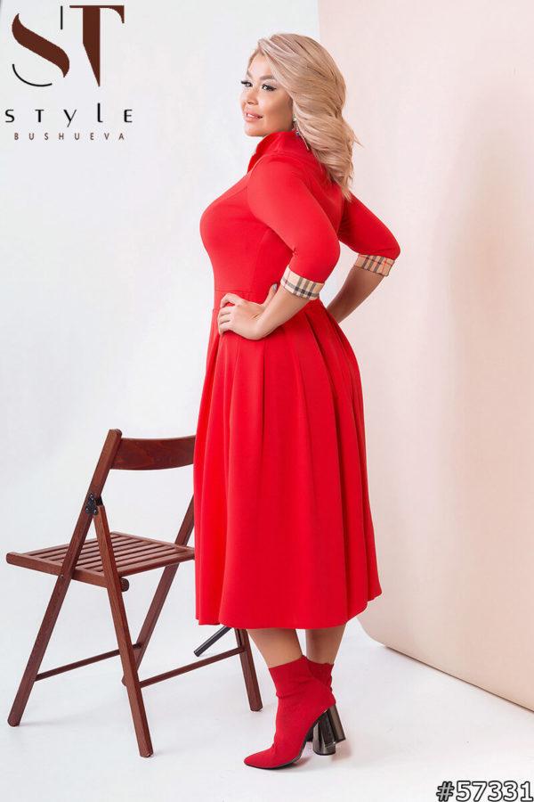 Деловое платье красного цвета больших размеров