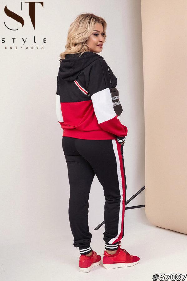 Костюм спортивный женский красно-черный