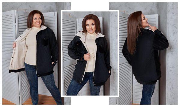 Куртка бомбер из вельвета для полных женщин