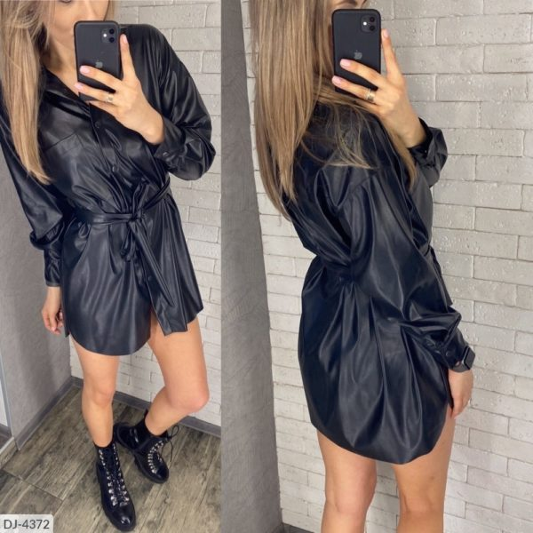 Платье рубашка из эко кожи