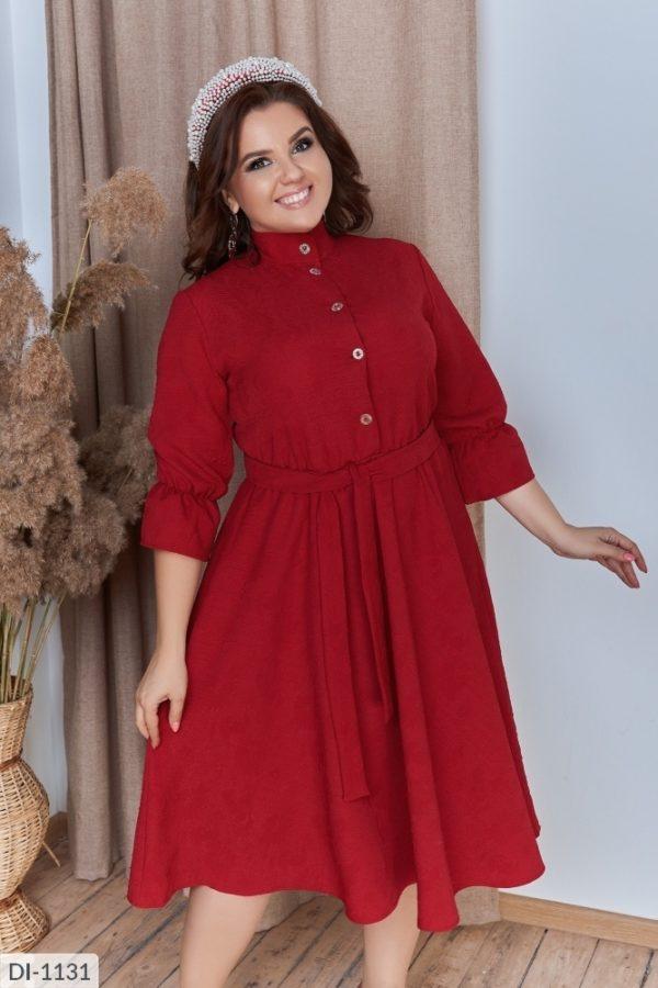 """""""Расклешенное платье темно-красного цвета"""""""